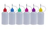 6x 50ml farbige Nadelflaschen inkl. Beschriftungstiketten