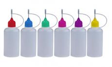 6 Stück FARBIGE Nadelflaschen inkl. Beschriftungstiketten – SmokerFuchs® Nadelcap – Leerflasche je 50 ml zum befüllen und mischen von E-Liquid für elektrische Zigaretten.