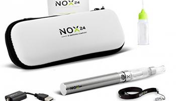 E-Zigarette eGo – E Zigaretten Einsteiger-Set inkl. Atomizer / Verdampfer mit Etui Komplettset ohne Nikotin – Original: Nox24 (Chrome).