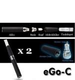 eGo-C Starterset! 2 vollständige E Zigaretten mit großem 900mAh Akku und wechselbaren Verdampferköpfen zum besten Preis! Farbe – Mattschwarz.