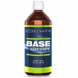 Elvapo BASE – Max Vape | 1000ml / 1L | 30/70 (PG/VG) | Basisliquid für das Mischen von E-Liquids mit Aromen (für E-Zigaretten und E-Shishas) | 0mg (ohne Nikotin) | Liquid-Basen Made in Germany!