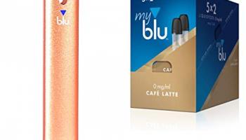 myblu Batterieeinheit Gold mit 5 x 2 Liquidpods Mega-Starter Set 12 Sorten Auswahl Ohne Nikotin für E-Zigarette + Original LK Soft Touch Pen (1 x Gold + 5 Doppelsets Aroma Cafe Latte)