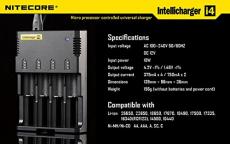Nitecore i4 Intellicharge Ladegerät für (4x Akku, Li-Ion/Ni-Mh).