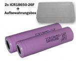 Samsung SDI ICR18650-26F X2 Li-Ion Akku (3,7V, 2600mAh, 2-er Pack) inkl. Akkubox.