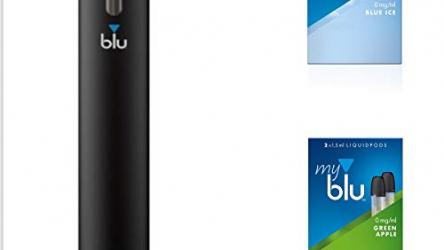Starter Set mit E-Zigarette Vape Device myblu + 2 Doppelsets Liquids + Geschmack Blue Ice und Green Apple – Ohne Nikotin – 350 mAh USB Ladestecker + Tattooset