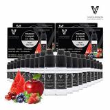 VAPOURSSON 20 X 10ml E Liquid gemischte Früchte, 0mg (Ohne Nikotin) Süßer Roter Apfel – Blaubeere – Kirsche – Erdbeere – Wassermelone – Hergestellt für elektronische Zigaretten und E Shisha