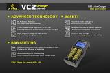 Xtar VC2 intelligentes CCCV Ladegerät (2 Schächte, USB-Eingang, Farbdisplay).